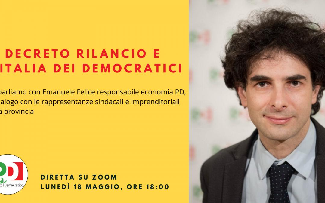 """Incontro su """"Decreto Rilancio"""" con Emanuele Felice- Circolo Faletra PD"""