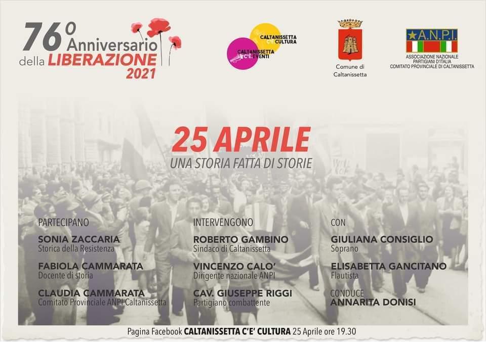 """""""25 Aprile: una storia fatta di storie"""" – Evento online -Caltanissetta c'è Cultura"""